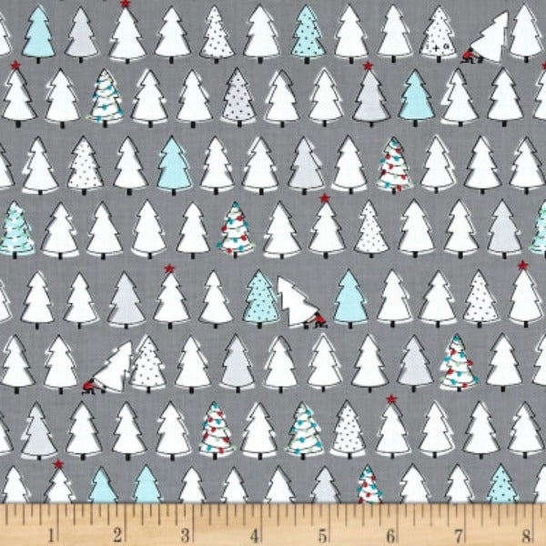 Mingle & Jingle by Alicia Jacobs Dujets for Ink & Arrow Fabrics - Christmas Trees in Dark Gray (25919-K)