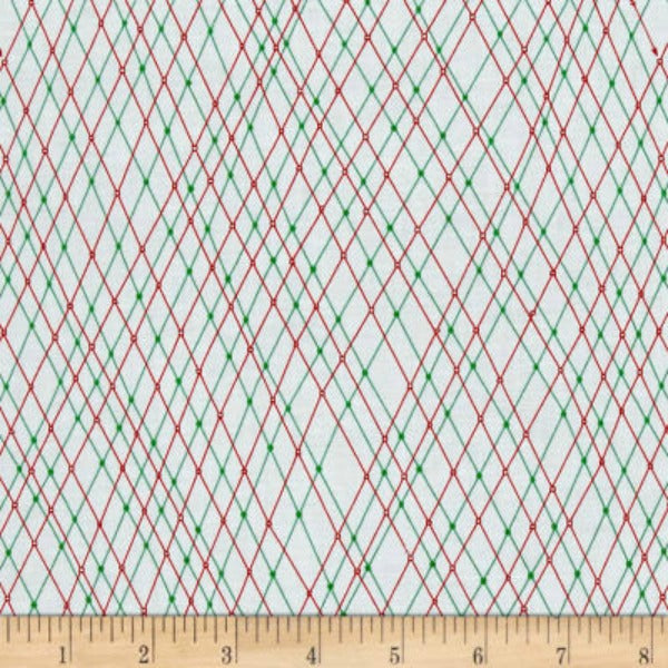 Mingle & Jingle by Alicia Jacobs Dujets for Ink & Arrow Fabrics - Linear Argyle in White (25921-Z)