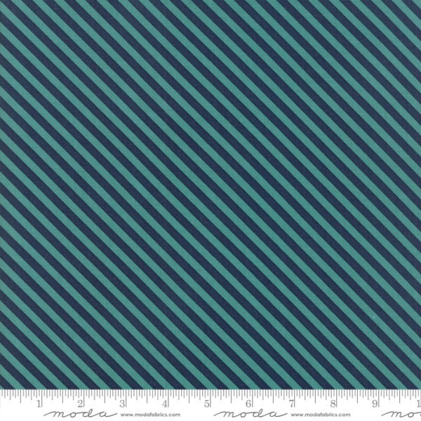 Woof Woof Meow by Stacy Iest Hsu - Bias Stripe in Turquoise (20569-16)