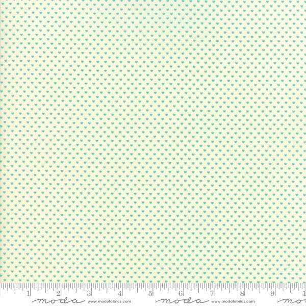 Home Sweet Home by Stacy Iest Hsu - Swiss Hearts Aqua on Cream (20577-21)