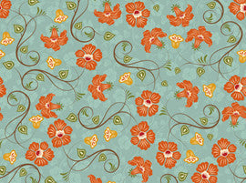 Dominique by Denise Urban - Large Floral Vine Cypress Blue (22329-Q)