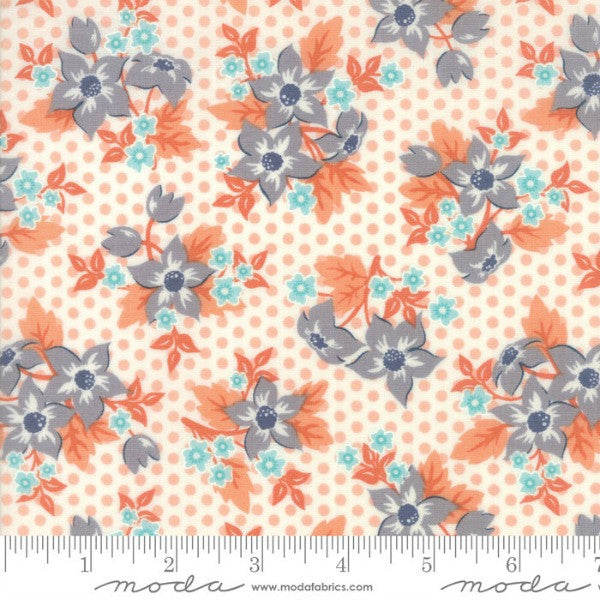 Sweet Marion by April Rosenthal - Floral Dotty Garden in Peach (24040-25)