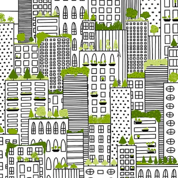 City Life by Ink & Arrow Fabrics - Rooftop Gardens in White (24300-Z)