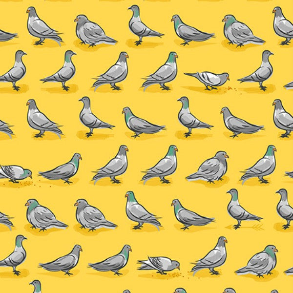 City Life by Ink & Arrow Fabrics - Pigeons in Yellow (24304-S)