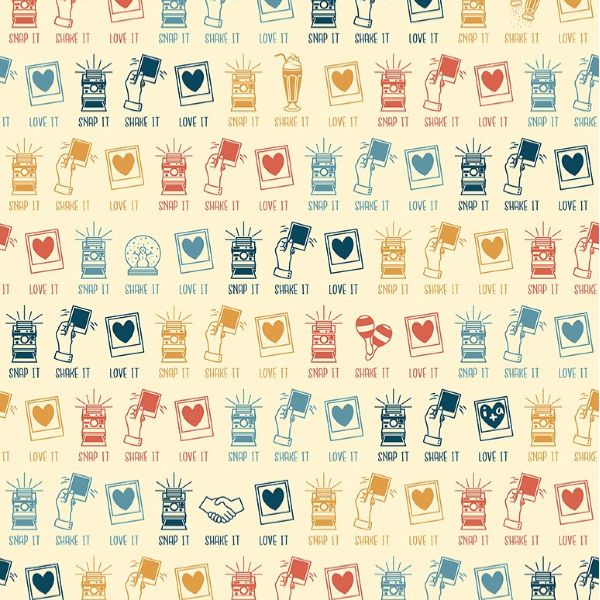 Say Cheese! by Alicia Jacobs Dujets for Ink & Arrow Fabrics - Instant Camera Icons in Cream (26335-C)