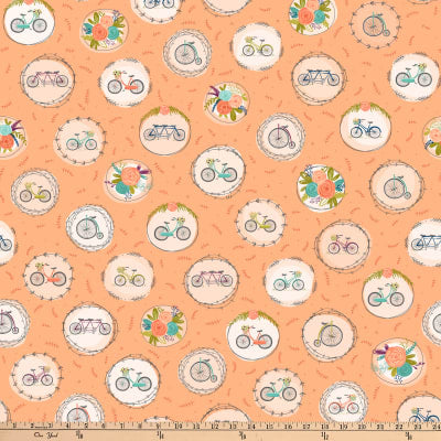 Scenic Route by Alicia Jacobs Dujets for Ink & Arrow Fabrics - Bike and Floral Medallions in Apricot (26917-C)