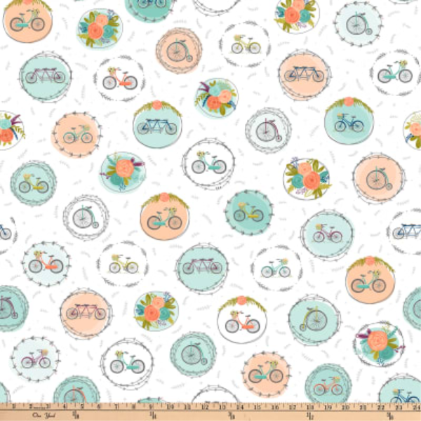 Scenic Route by Alicia Jacobs Dujets for Ink & Arrow Fabrics - Bike and Floral Medallions in White (26917-Z)