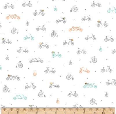 Scenic Route by Alicia Jacobs Dujets for Ink & Arrow Fabrics - Bikes in White (26918-Z)