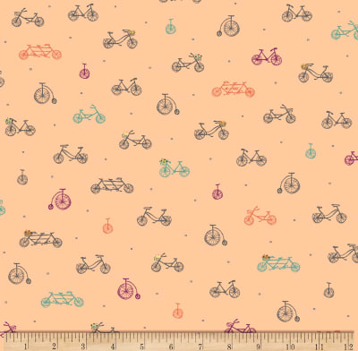 Scenic Route by Alicia Jacobs Dujets for Ink & Arrow Fabrics - Bikes in Light Apricot (26918-C)