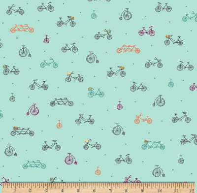 Scenic Route by Alicia Jacobs Dujets for Ink & Arrow Fabrics - Bikes in Aqua (26918-Q)