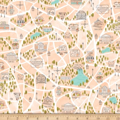 Scenic Route by Alicia Jacobs Dujets for Ink & Arrow Fabrics - Bike Path in Pale Apricot (26919-C)