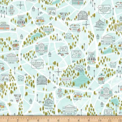 Scenic Route by Alicia Jacobs Dujets for Ink & Arrow Fabrics - Bike Path in Pale Aqua (26919-Q)