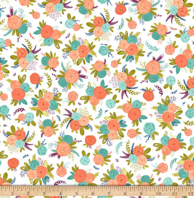 Scenic Route by Alicia Jacobs Dujets for Ink & Arrow Fabrics - Floral in White (26920-Z)