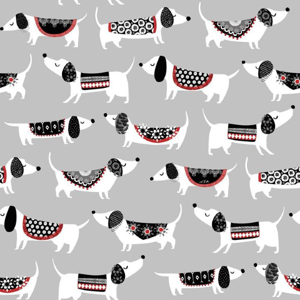 Hot Diggity Dog by Ink & Arrow Fabrics - Hot Dogs in Gray (27441-K)