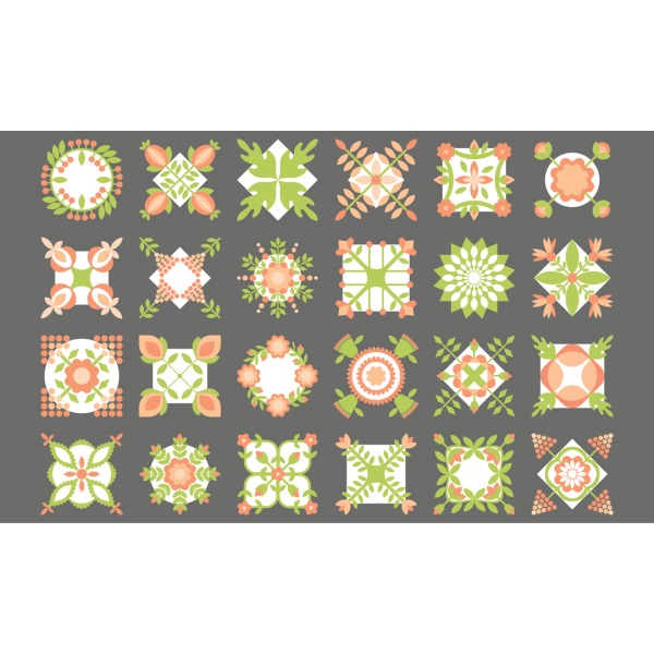 Apricot & Ash by Corey Yoder - Floral Squares Quilt Panel in Ash (29100-19)