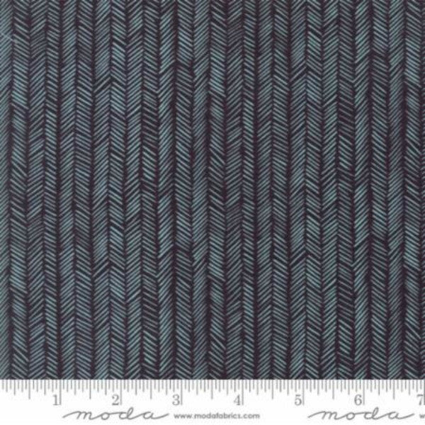 Hazelwood by One Canoe Two - Herringbone in Charcoal Robins Egg (36017-23)