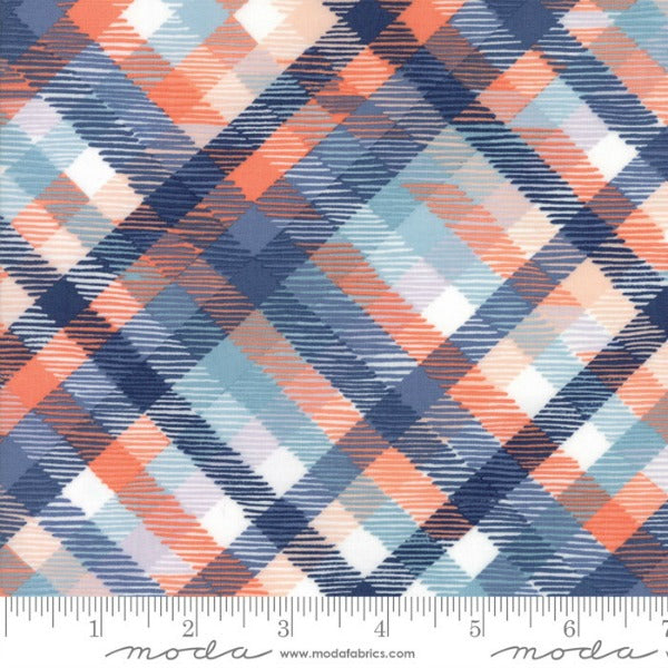 Midnight Garden by One Canoe Two - Dusk Tartan Plaid on Coral (36023-14)