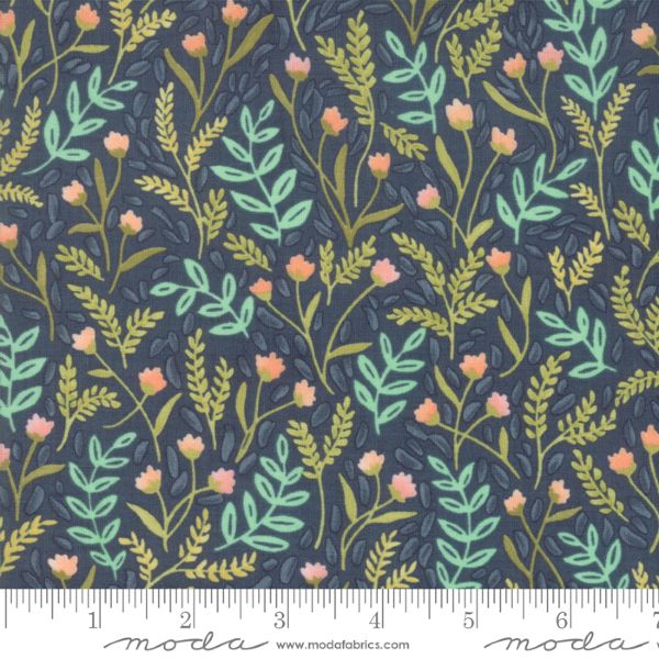 Goldenrod by One Canoe Two - Meadow Floral in Navy (36051-12)