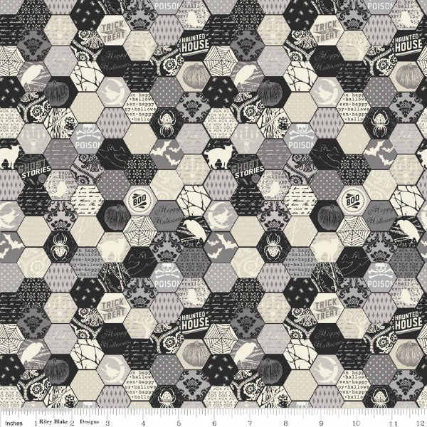 Happy Haunting by Deena Rutter - Haunting Hexagon in Gray (C4673-GRAY)