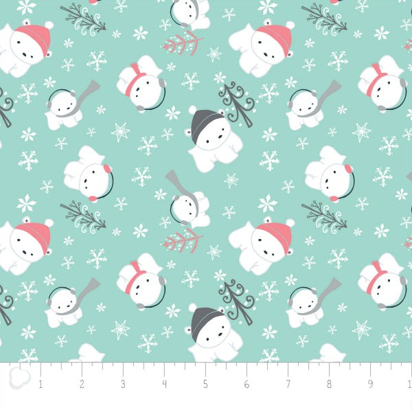 Polar Cubs by Heather Rosas - Polar Cubs in Aqua in Flannel (6150018B)