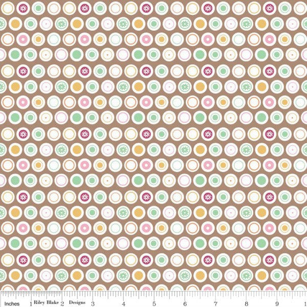 Flower Patch by Lori Holt - Flower Dots in Brown (C4097-BROWN)