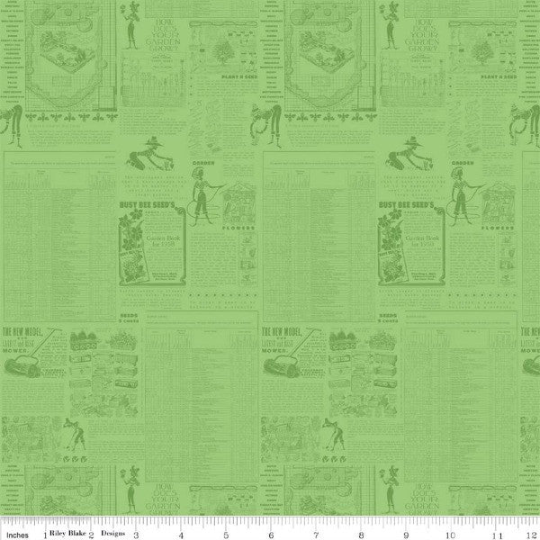 Flower Patch by Lori Holt - Flower Words in Green (C4091-GREEN)
