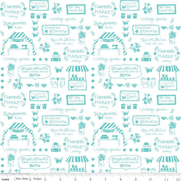 Vintage Market by Tasha Noel - Text in Aqua (C4563-AQUA)