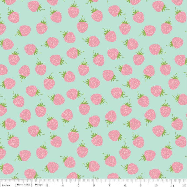 Butterflies & Berries by The RBD Designers - Strawberries in Mint (C6943-MINT)