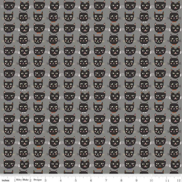 Cats, Bats and Jacks by My Minds Eye - Cats in Gray Glow in the Dark (GC8051-GRAY)