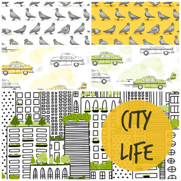 City Life by Ink & Arrow Fabrics - Taxi Cabs in Light Green (24301-H)