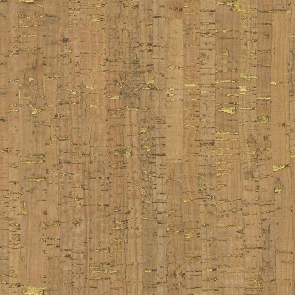 Natural Real Cork Fabric with Metallic Gold (50108CM-1)