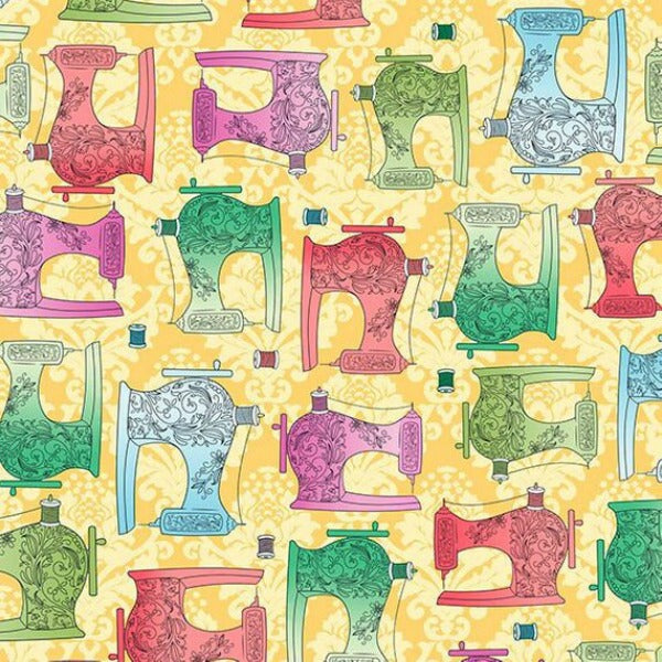 Fabric Follies by Leslie Moak Murray - Sewing Machines in Butterscotch (25761-S)