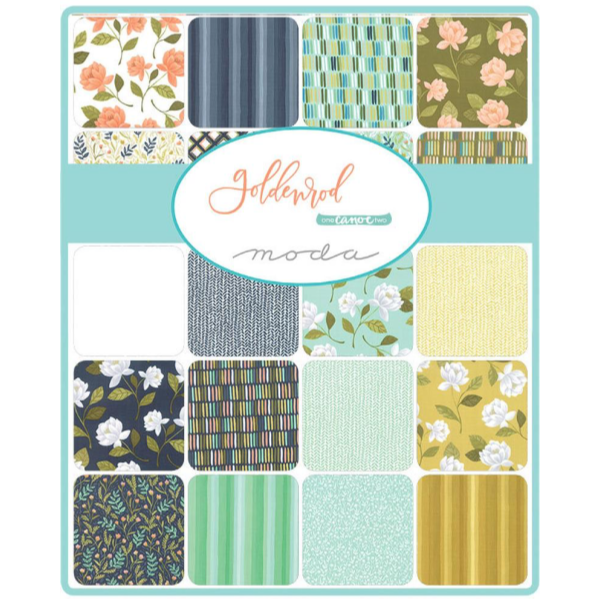 Goldenrod by One Canoe Two - Meadow Floral in Aqua (36051-13)