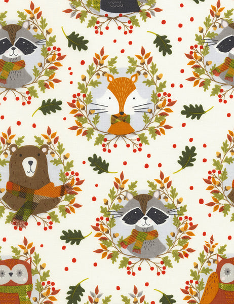Fox & Racoons by Timeless Treasures - Fox & Racoons (C6760-CREAM)