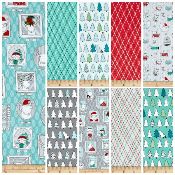 Mingle & Jingle by Alicia Jacobs Dujets for Ink & Arrow Fabrics - Christmas Trees in White (25919-Z)