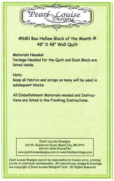 Pattern - Boo Hallow Block of the Month (PL680)