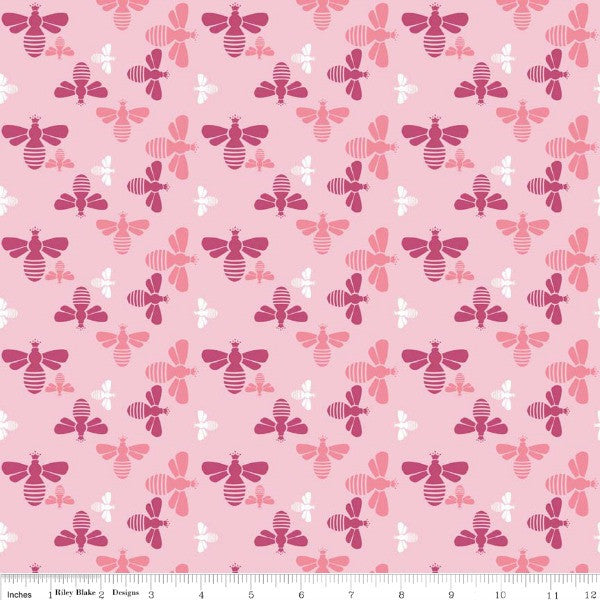 Flower Patch by Lori Holt - Flower Bees in Pink (C4094-PINK)