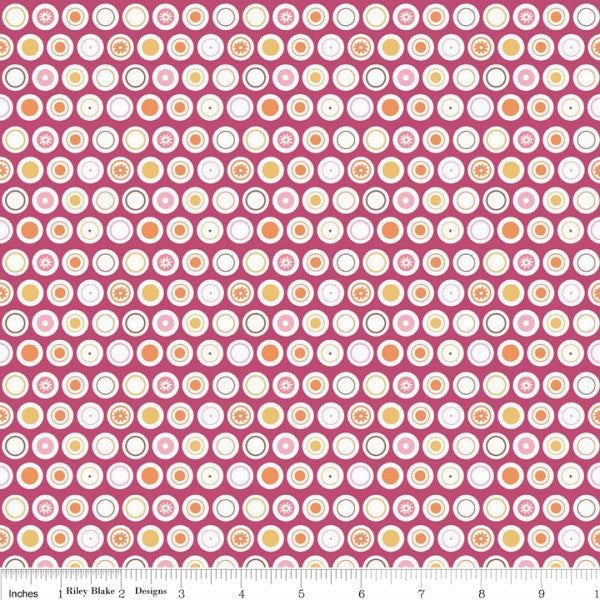 Flower Patch by Lori Holt - Flower Dots in Raspberry (C4097-RASPBERRY)