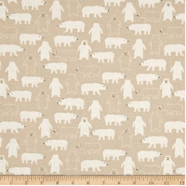 Cold Comfort by Dear Stella - Winter Polar Bears in Tan (STELLA-842)