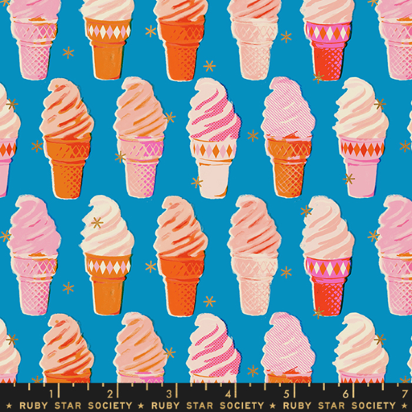 Social by Melody Miller - Ice Cream in Metallic Bright Blue (RS0003-11M)