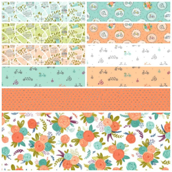 Scenic Route by Alicia Jacobs Dujets for Ink & Arrow Fabrics - Bike and Floral Medallions in Aqua (26917-Q)