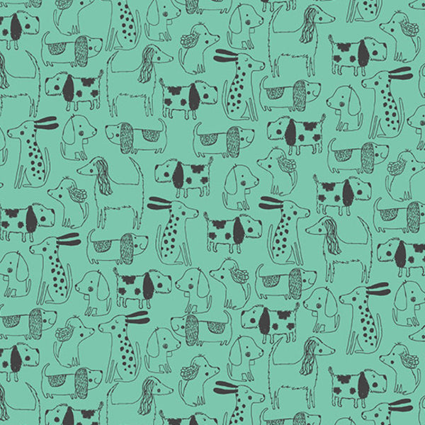 A Walk in the Park by Makower UK - Dog Outline in Teal (TP-2144-T)