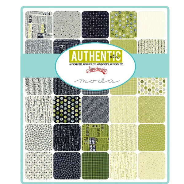 Authentic Etc by Sweetwater - Half Moon Green and Black on Cream (5673-23)
