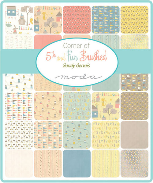 Corner of 5th and Fun by Sandy Gervais - Dots in Ivory Blue Brushed Cotton (17909-21B)