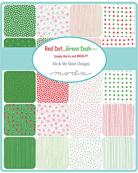 Red Dot Green Dash by Me and My Sister Designs - Winter White Flurries in Green (22303-22)