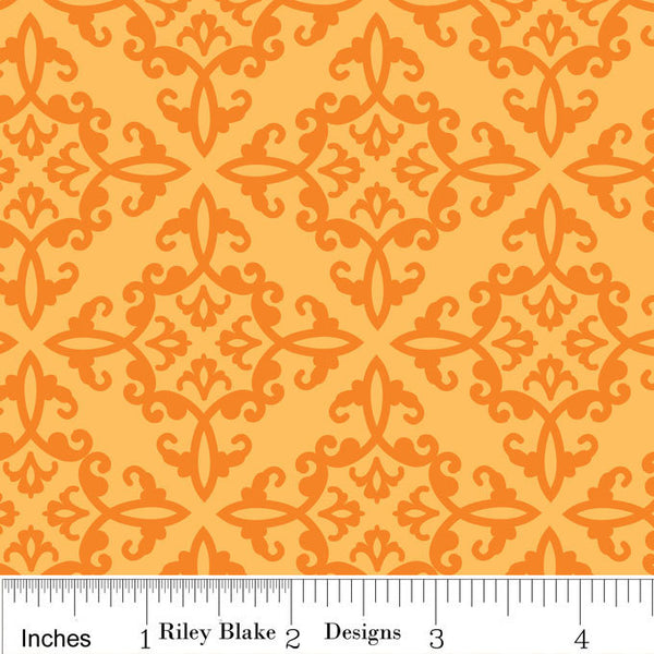 Trick or Treat - Spooky Orange Damask (C2534-ORANGE)