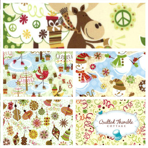 Merry Chris-Moose by Hoffman Fabrics- Flannel Marshmellow Tossed Ornaments (J4080F-395F)