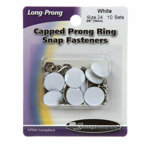 Snap Size 24 White Long Prong (01242SS)