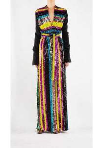 Sequin Stripe Salon Gown Yellow & Magenta