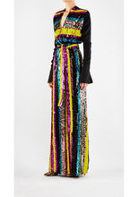 Load image into Gallery viewer, Sequin Stripe Salon Gown Yellow & Magenta